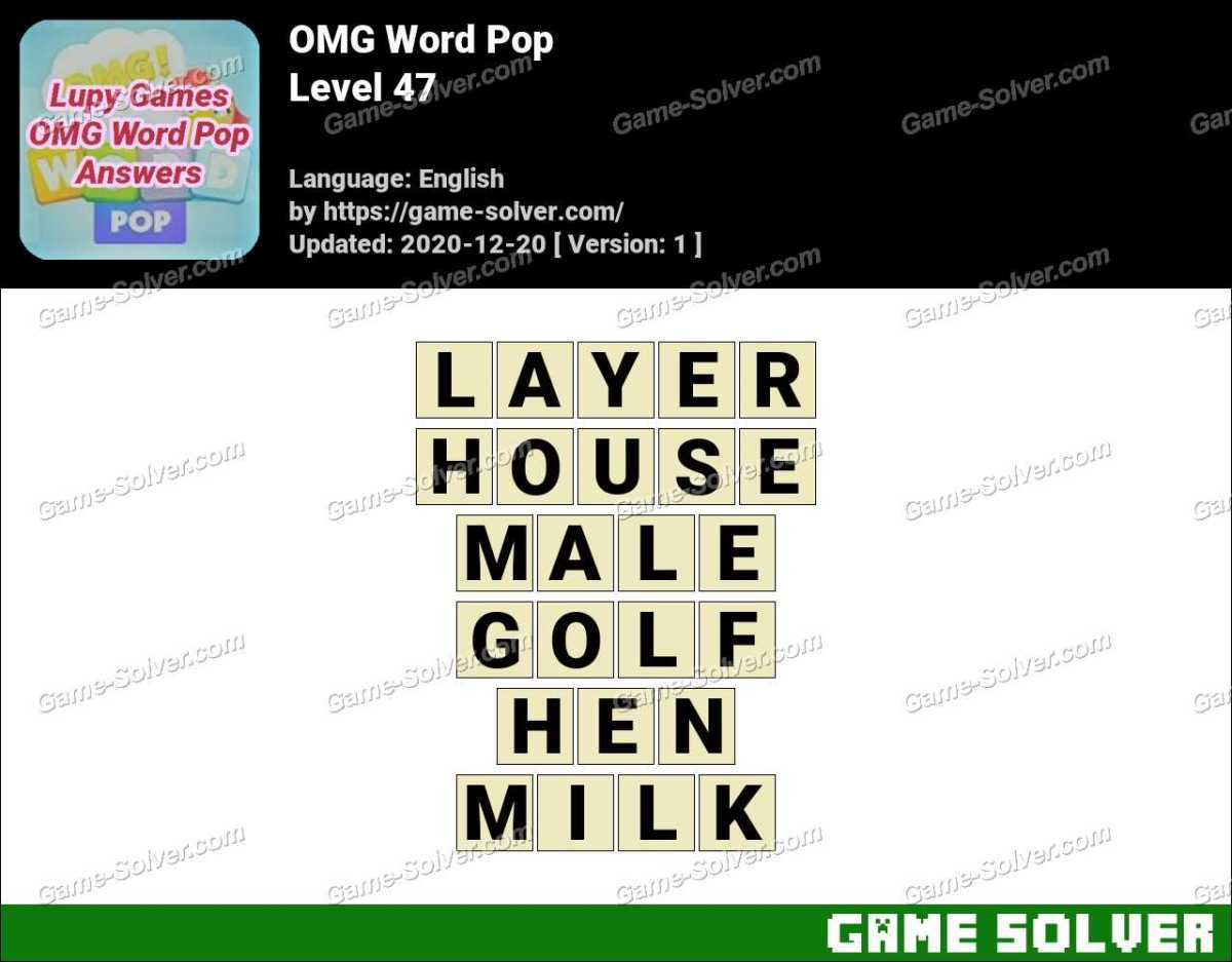 OMG Word Pop Level 47 Answers