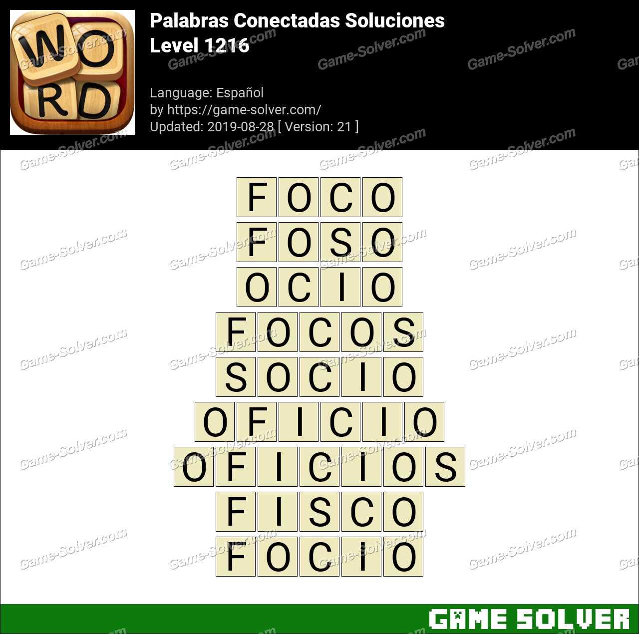 Palabras Conectadas Nivel 1216 Soluciones