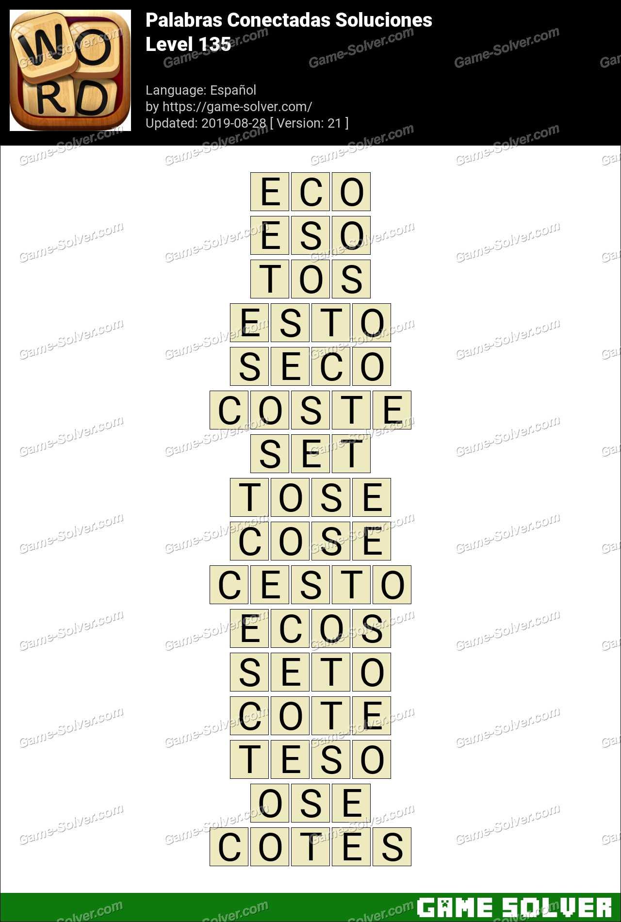 Palabras Conectadas Nivel 135 Soluciones