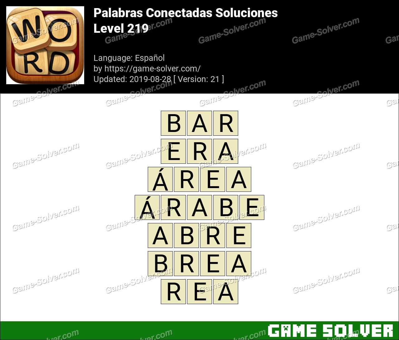 Palabras Conectadas Nivel 219 Soluciones