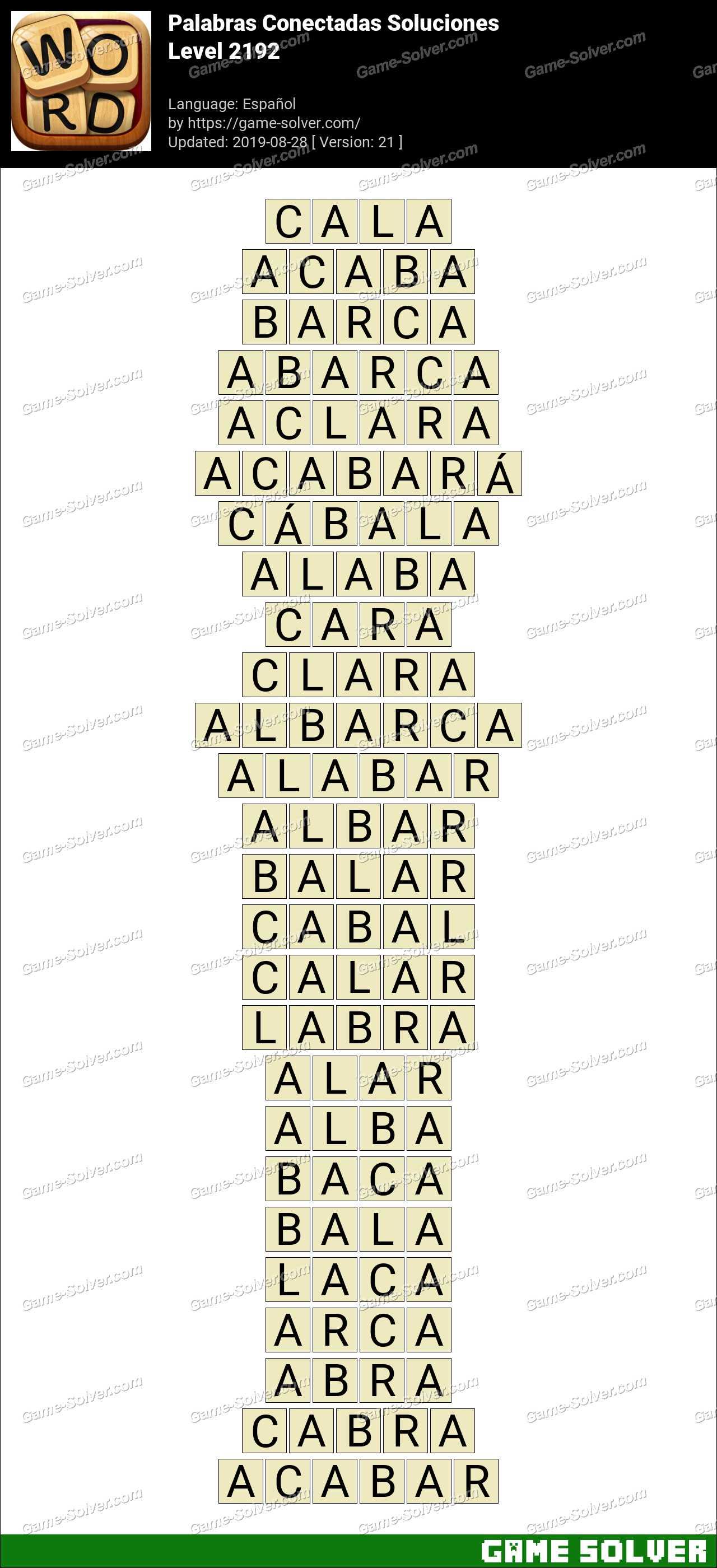 Palabras Conectadas Nivel 2192 Soluciones