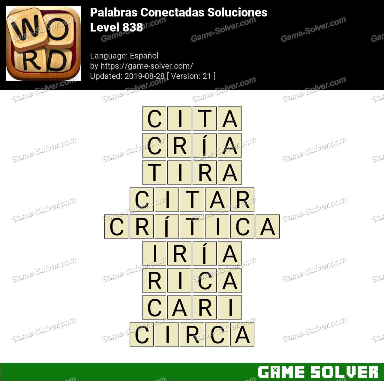 Palabras Conectadas Nivel 838 Soluciones