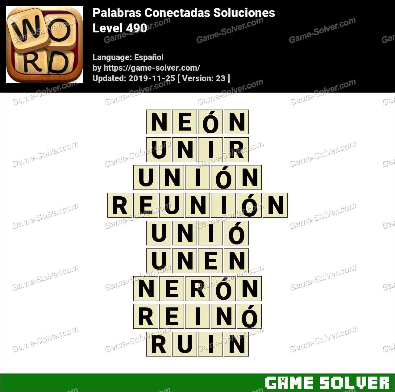 Palabras Conectadas Nivel 490 Soluciones