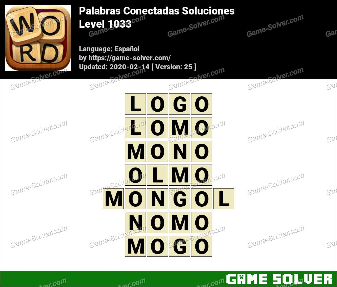 Palabras Conectadas Nivel 1033 Soluciones