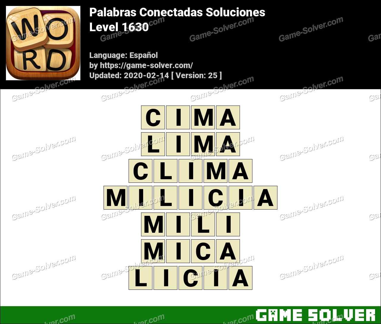 Palabras Conectadas Nivel 1630 Soluciones
