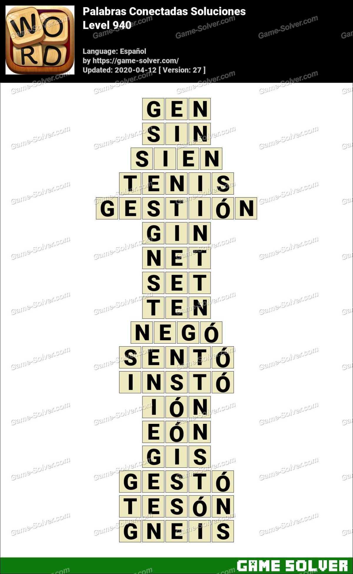 Palabras Conectadas Nivel 940 Soluciones