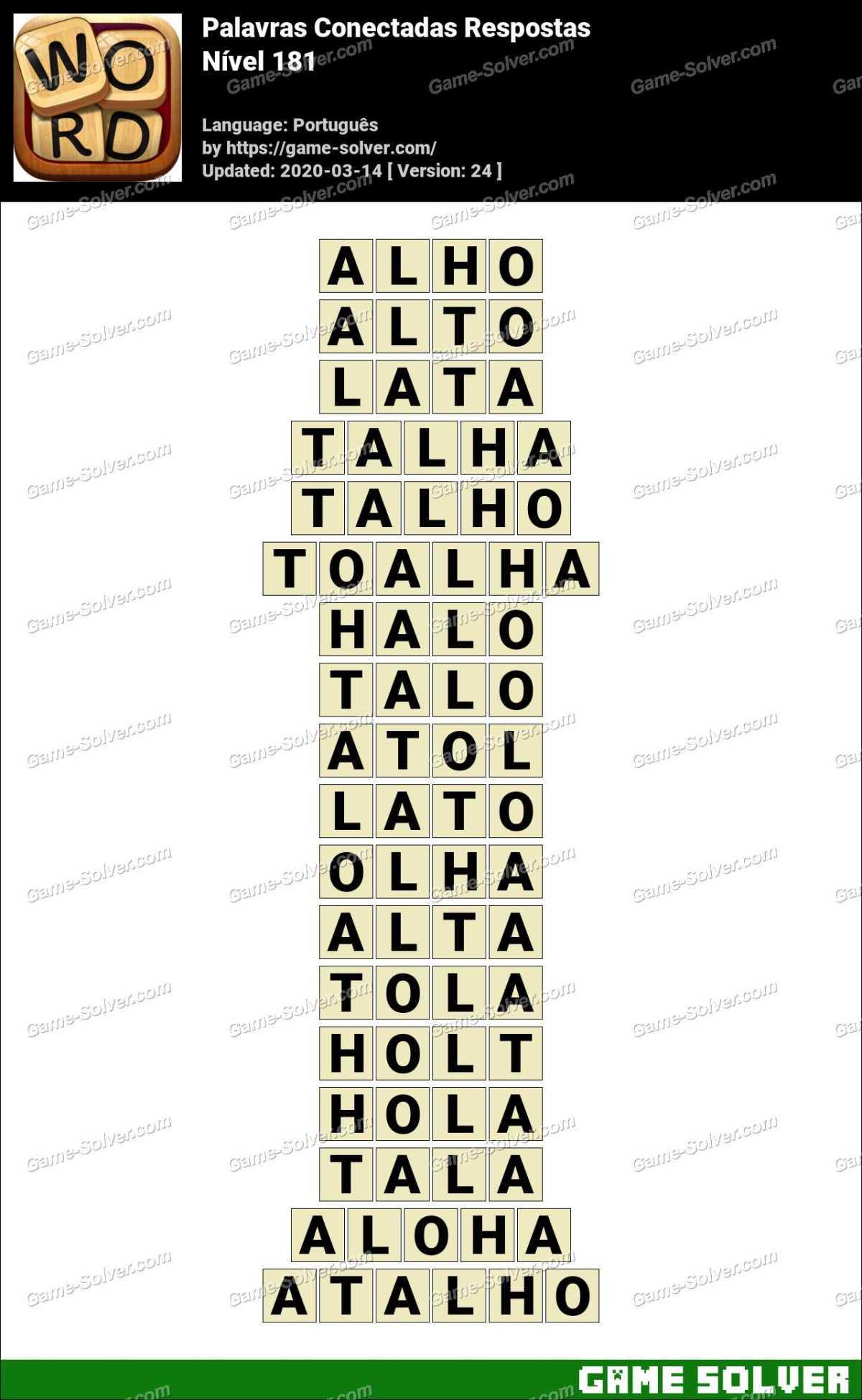 Palavras Conectadas Nivel 181 Respostas