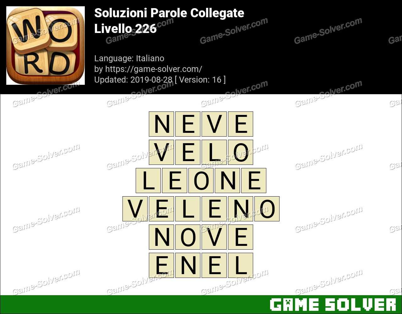 Soluzioni Parole Collegate Livello 226