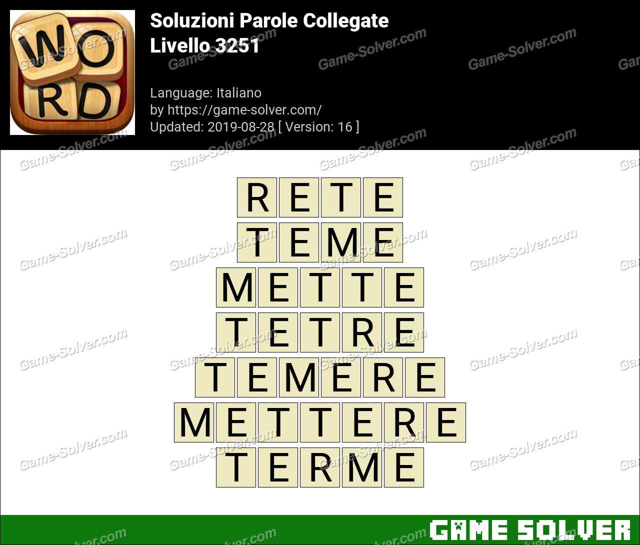 Soluzioni Parole Collegate Livello 3251