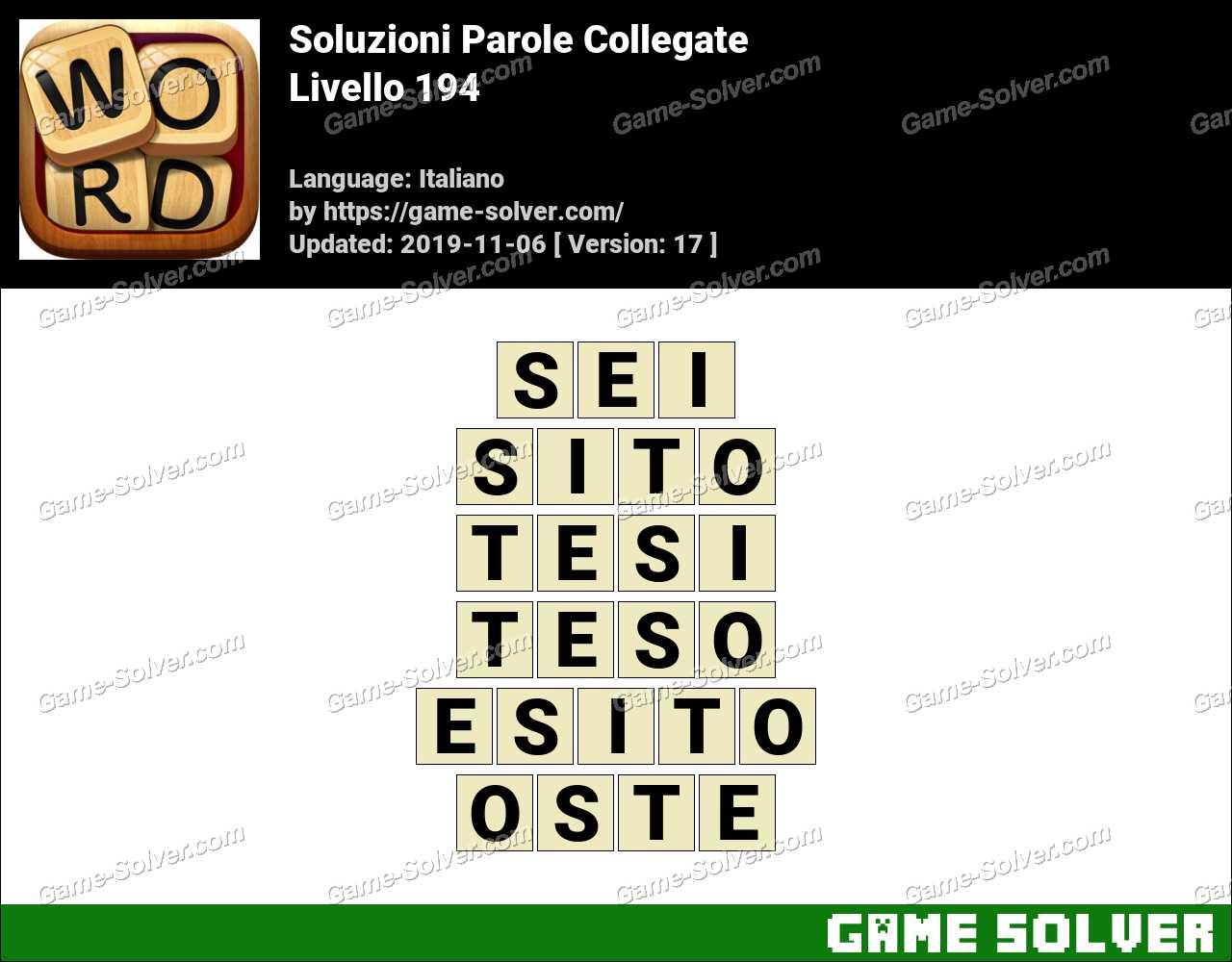 Soluzioni Parole Collegate Livello 194