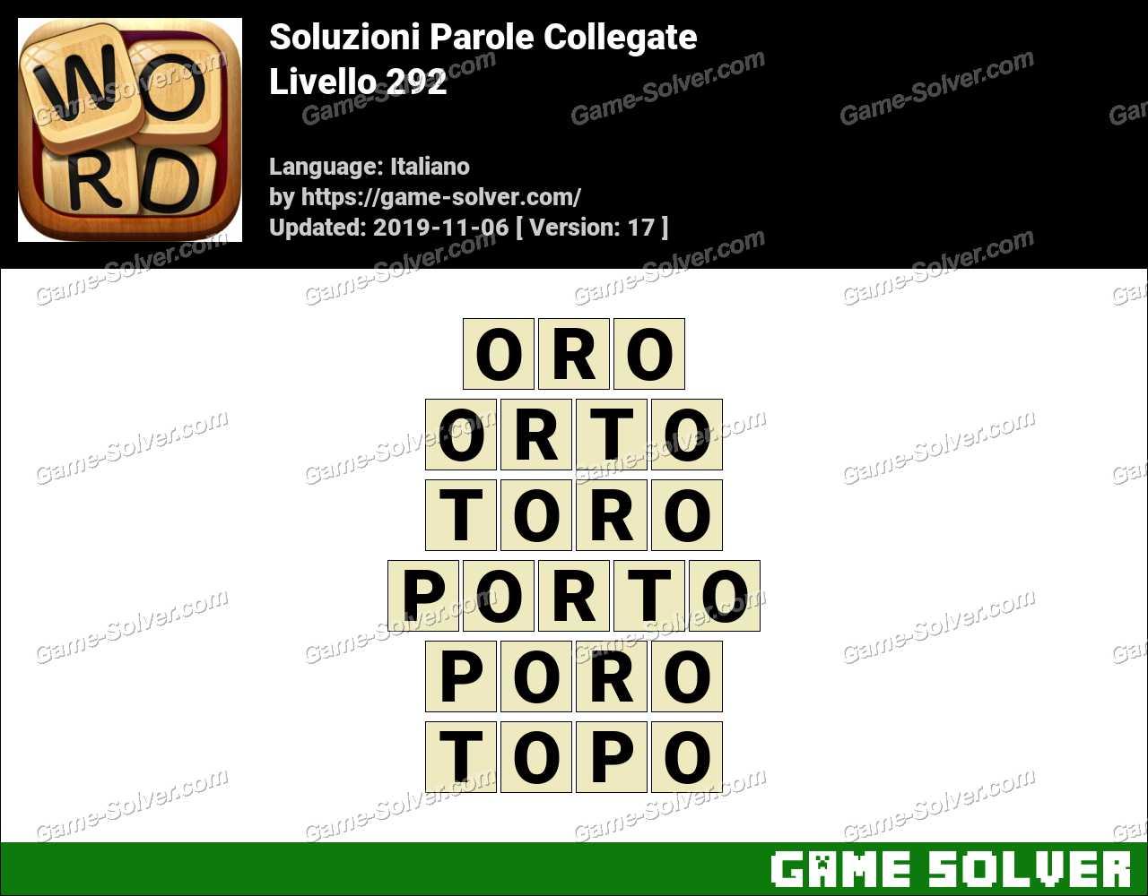 Soluzioni Parole Collegate Livello 292