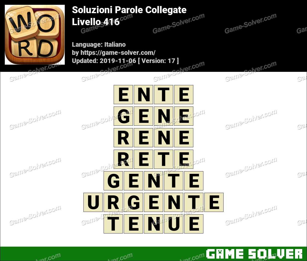 Soluzioni Parole Collegate Livello 416