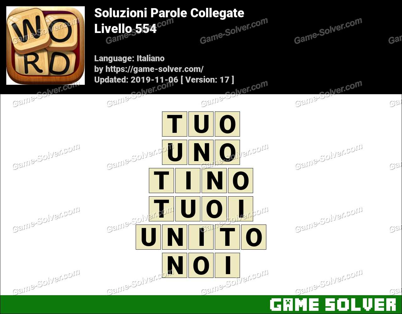 Soluzioni Parole Collegate Livello 554