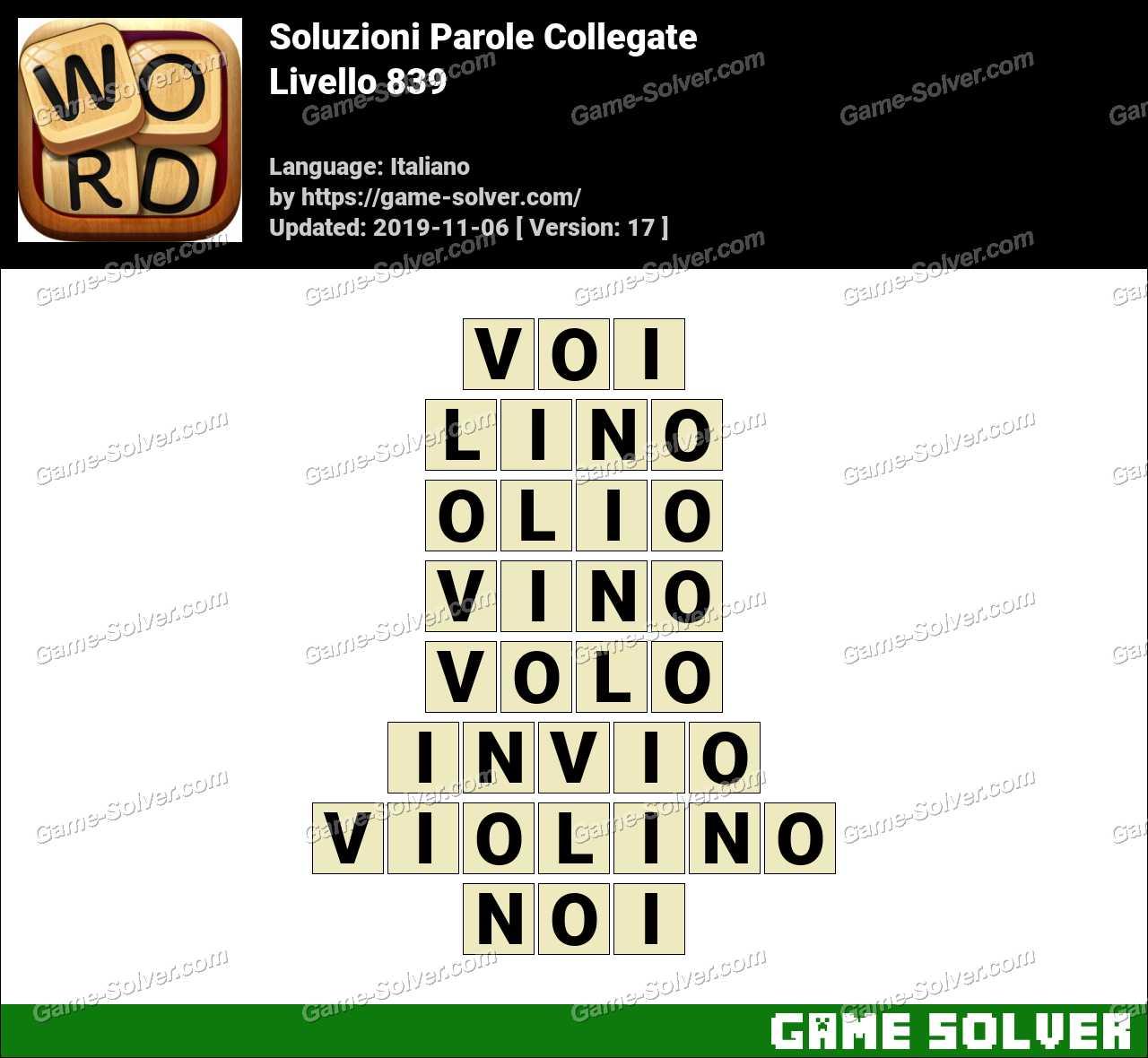 Soluzioni Parole Collegate Livello 839
