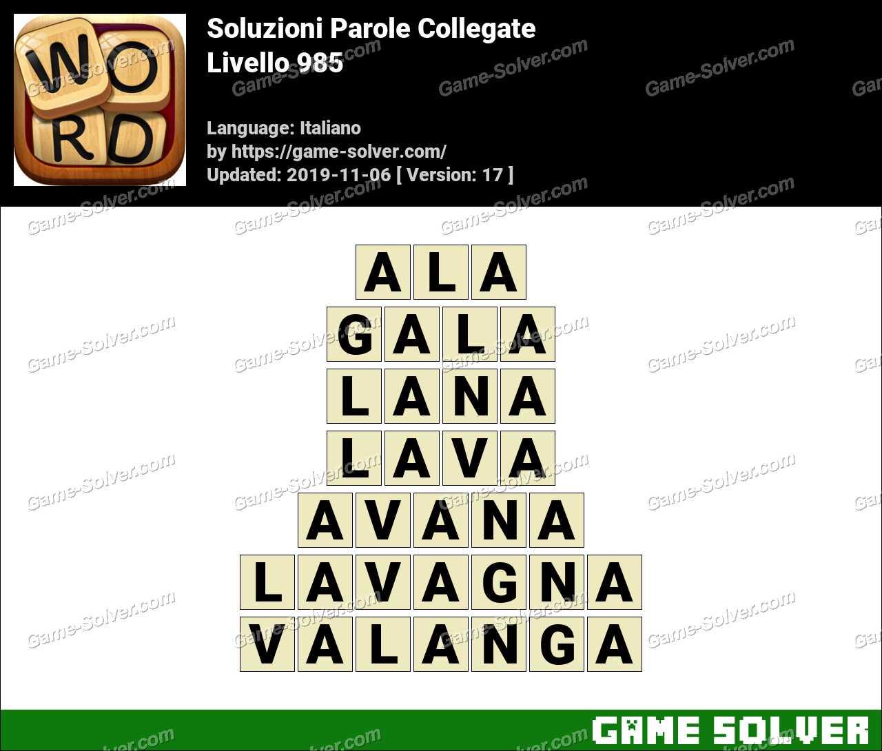 Soluzioni Parole Collegate Livello 985