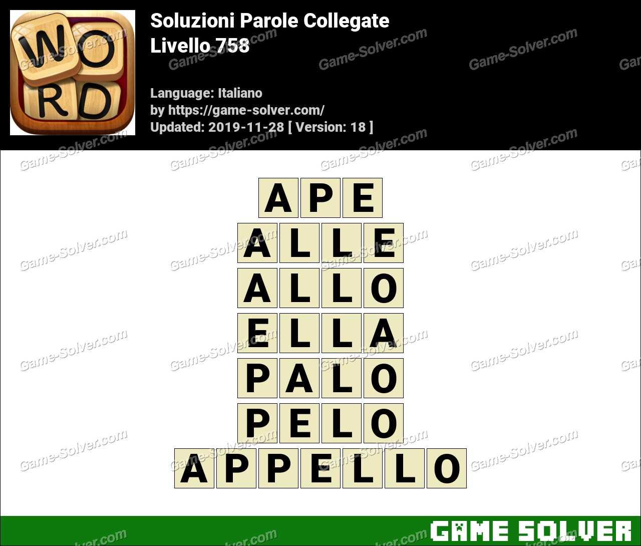Soluzioni Parole Collegate Livello 758