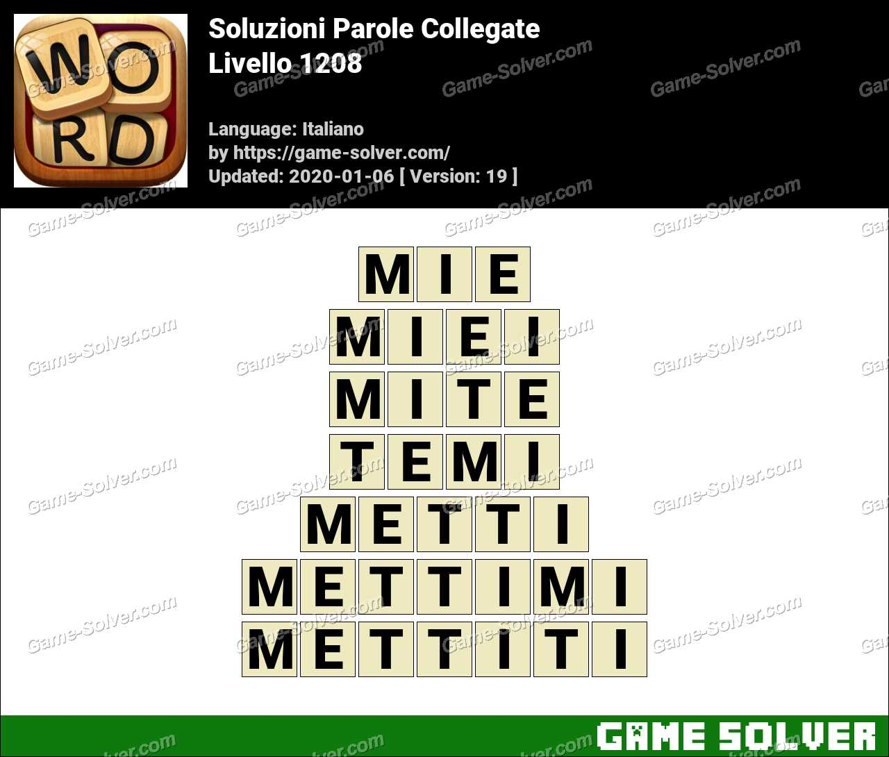 Soluzioni Parole Collegate Livello 1208