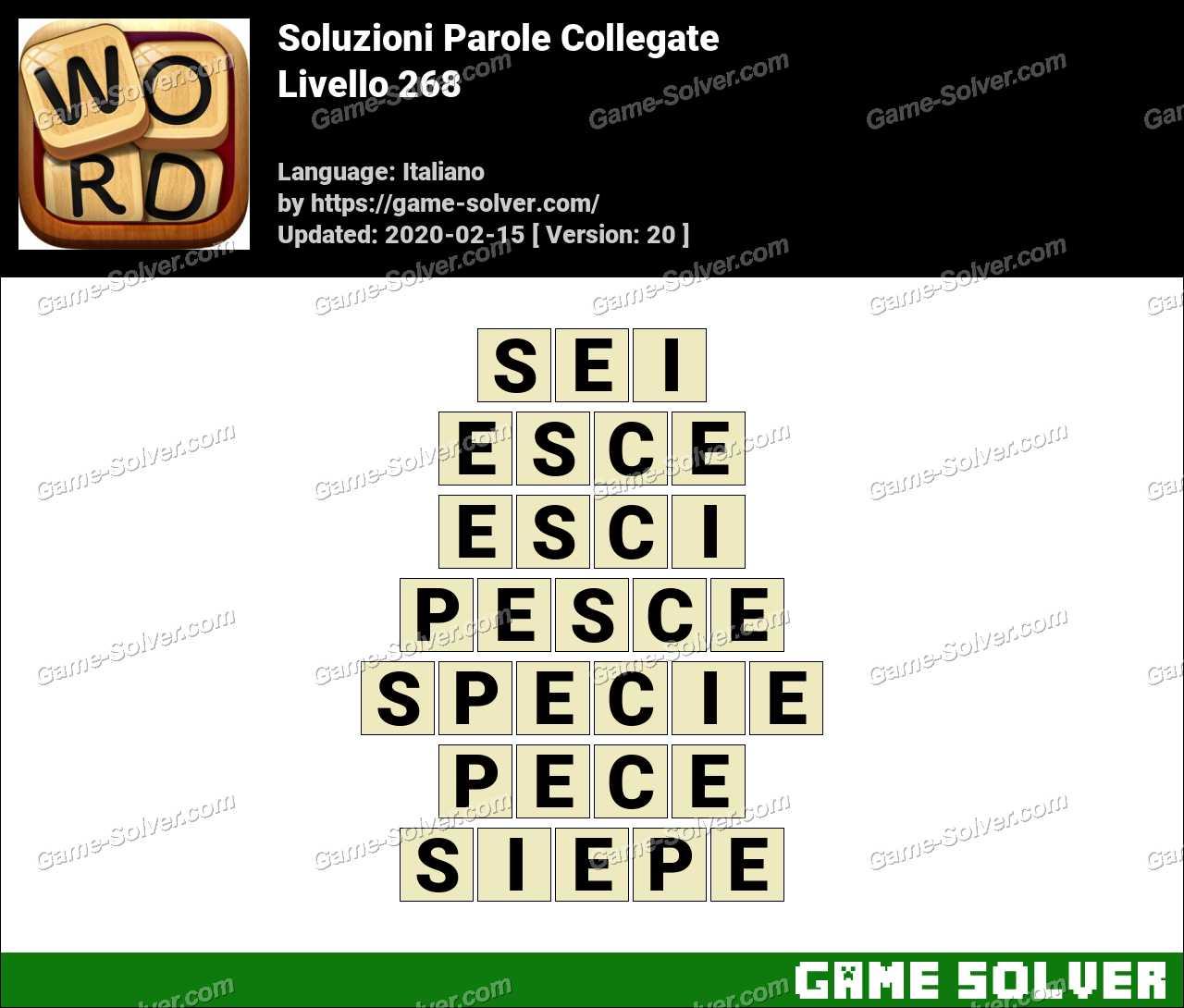 Soluzioni Parole Collegate Livello 268