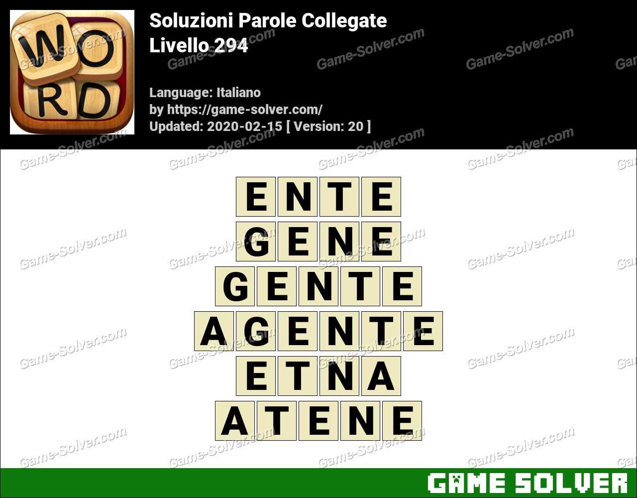 Soluzioni Parole Collegate Livello 294