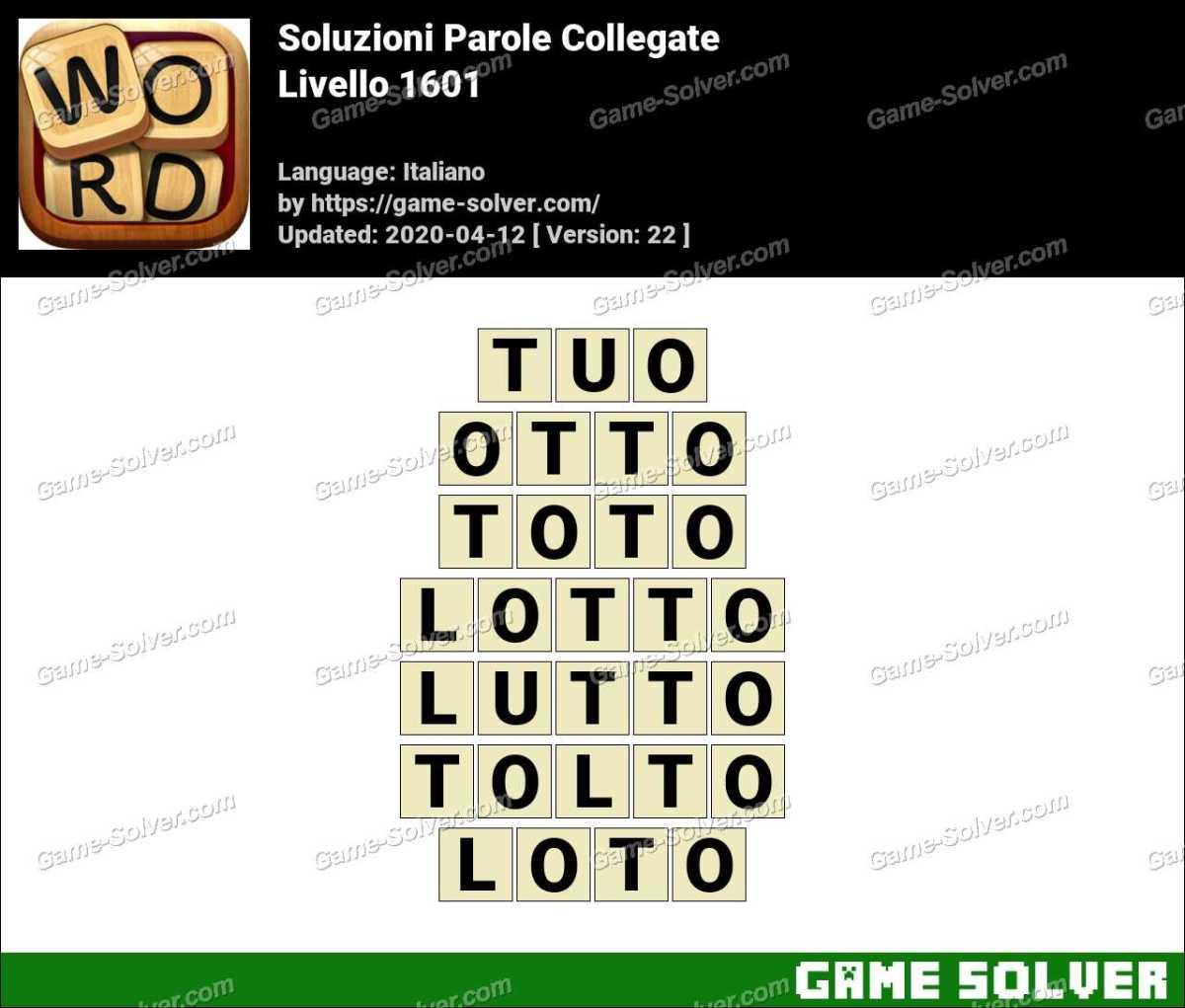 Soluzioni Parole Collegate Livello 1601