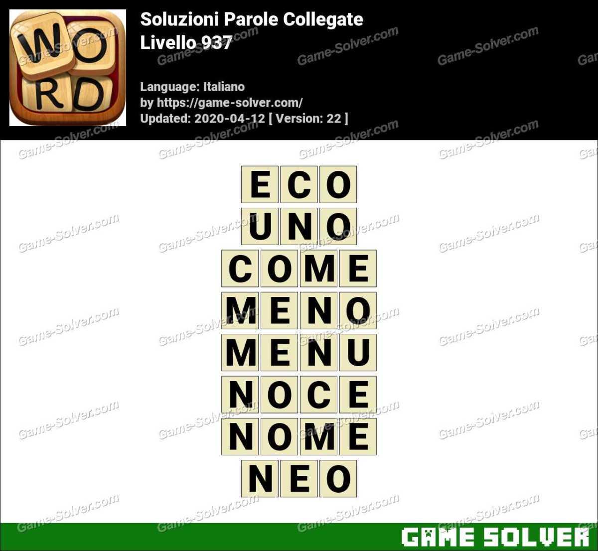 Soluzioni Parole Collegate Livello 937