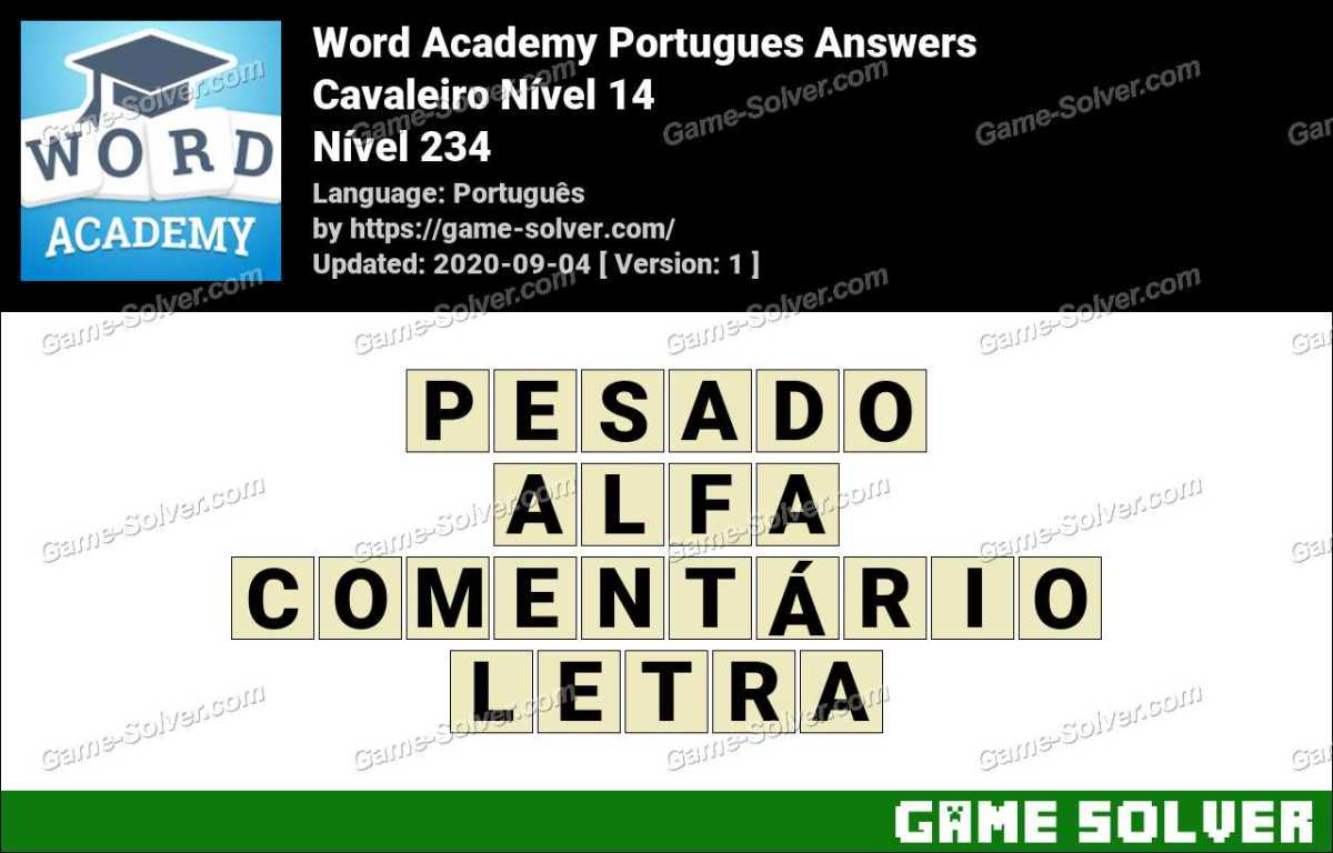 Word Academy Portugues Cavaleiro Nível 14 Answers