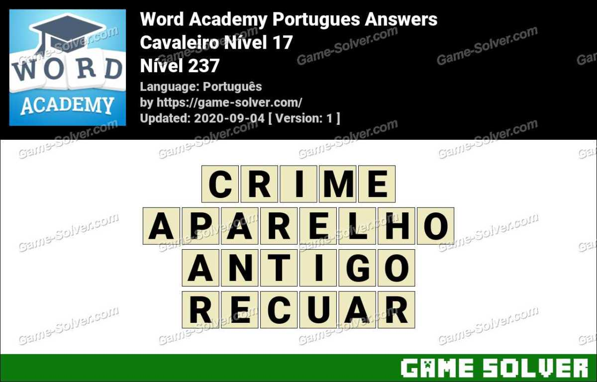 Word Academy Portugues Cavaleiro Nível 17 Answers