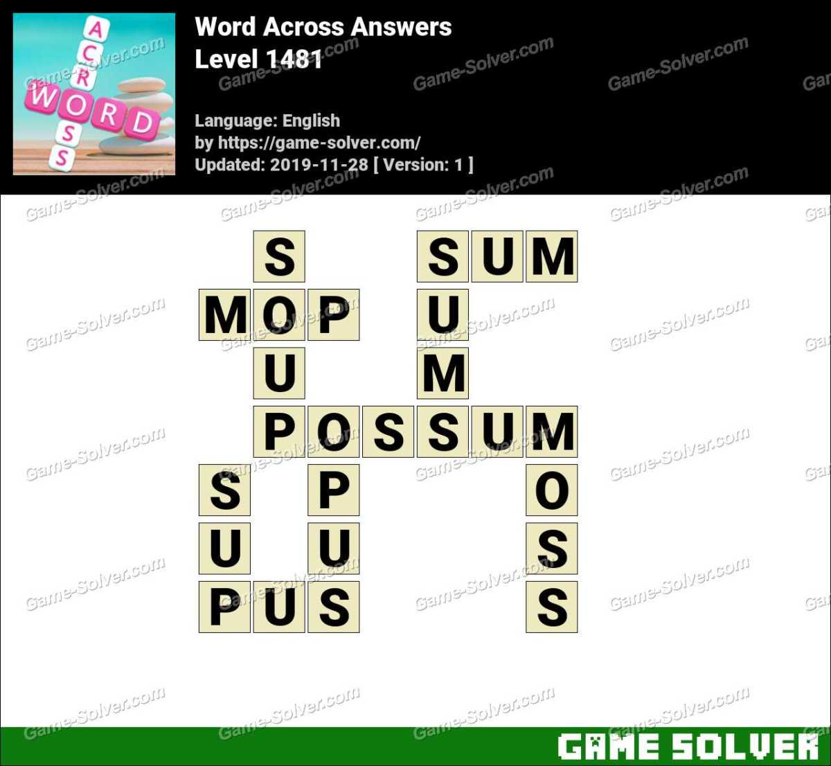 Word Across Level 1481 Answers