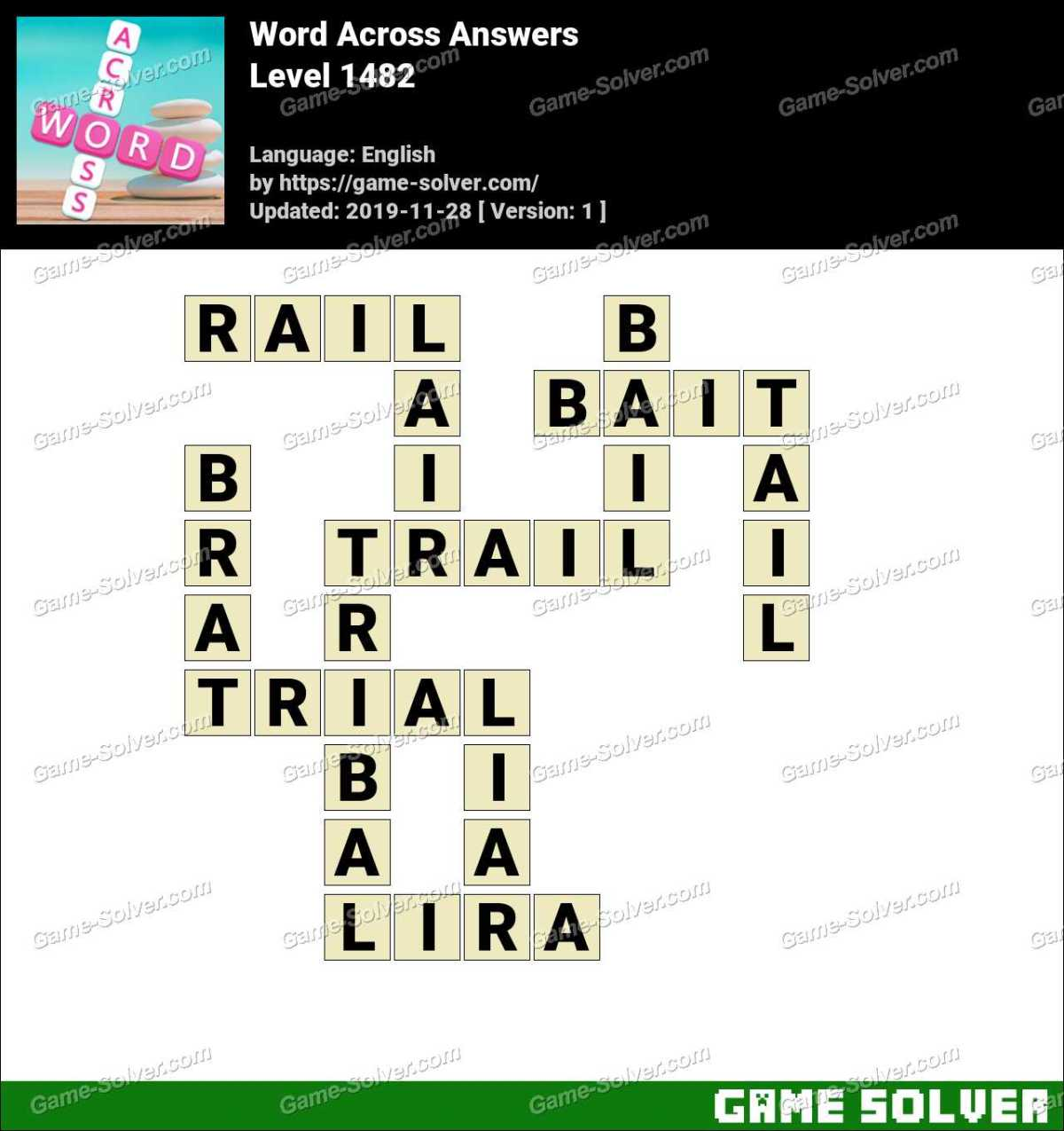Word Across Level 1482 Answers