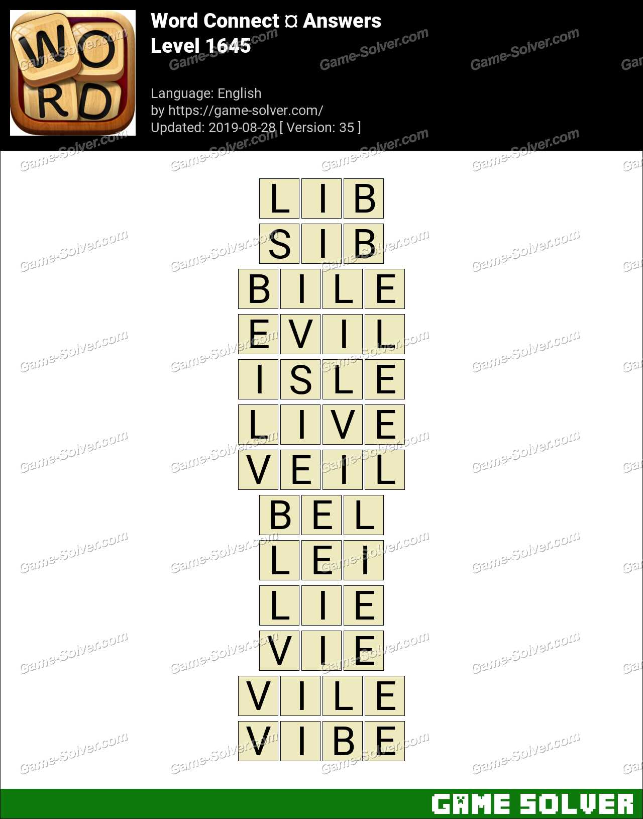 Word Connect Level 1645 Answers