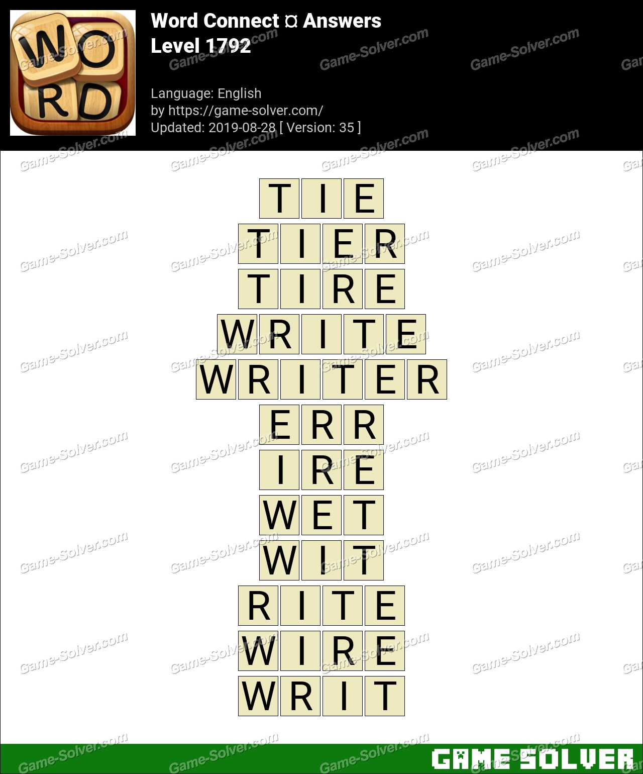 Word Connect Level 1792 Answers