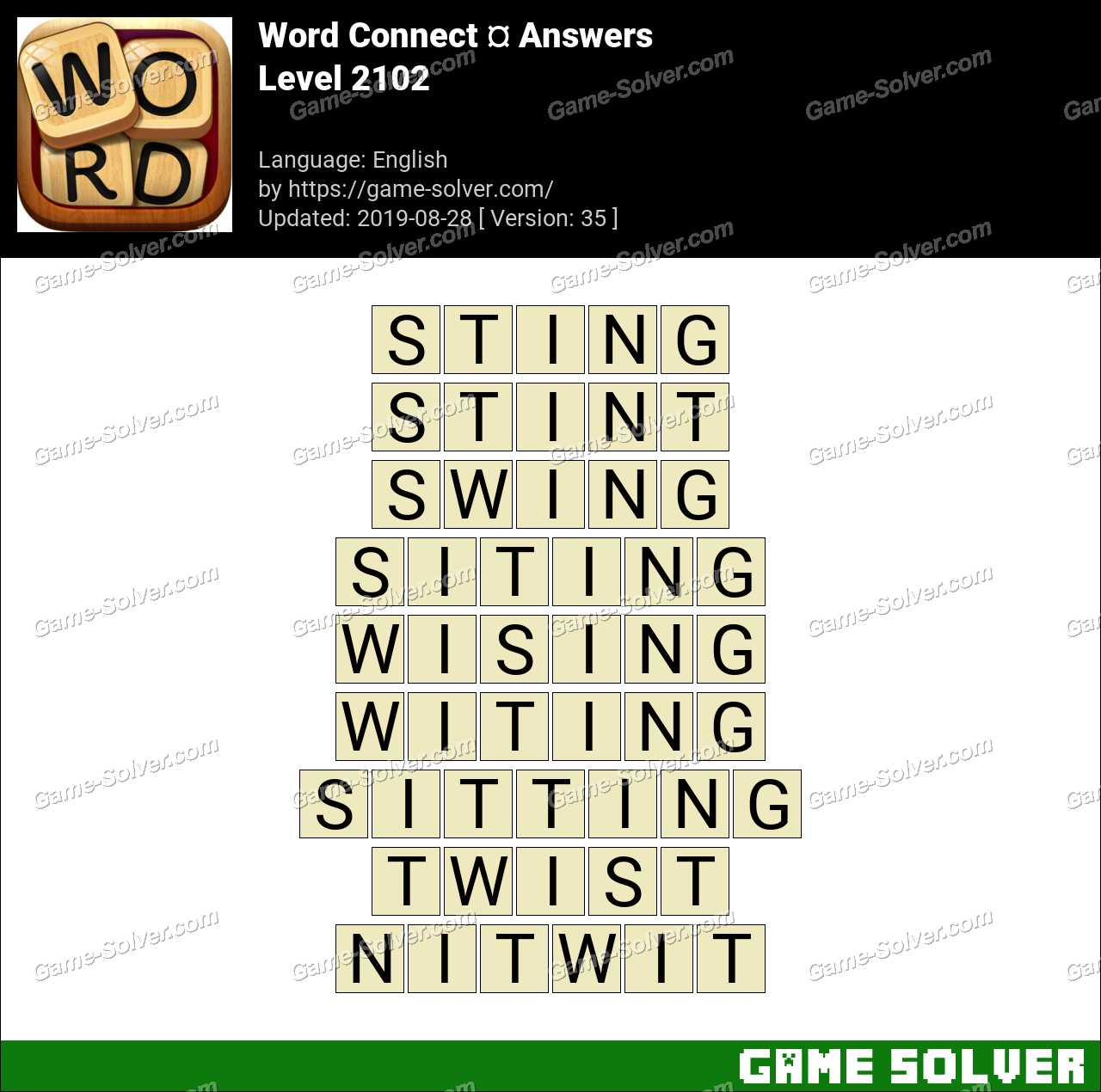 Word Connect Level 2102 Answers - Game Solver