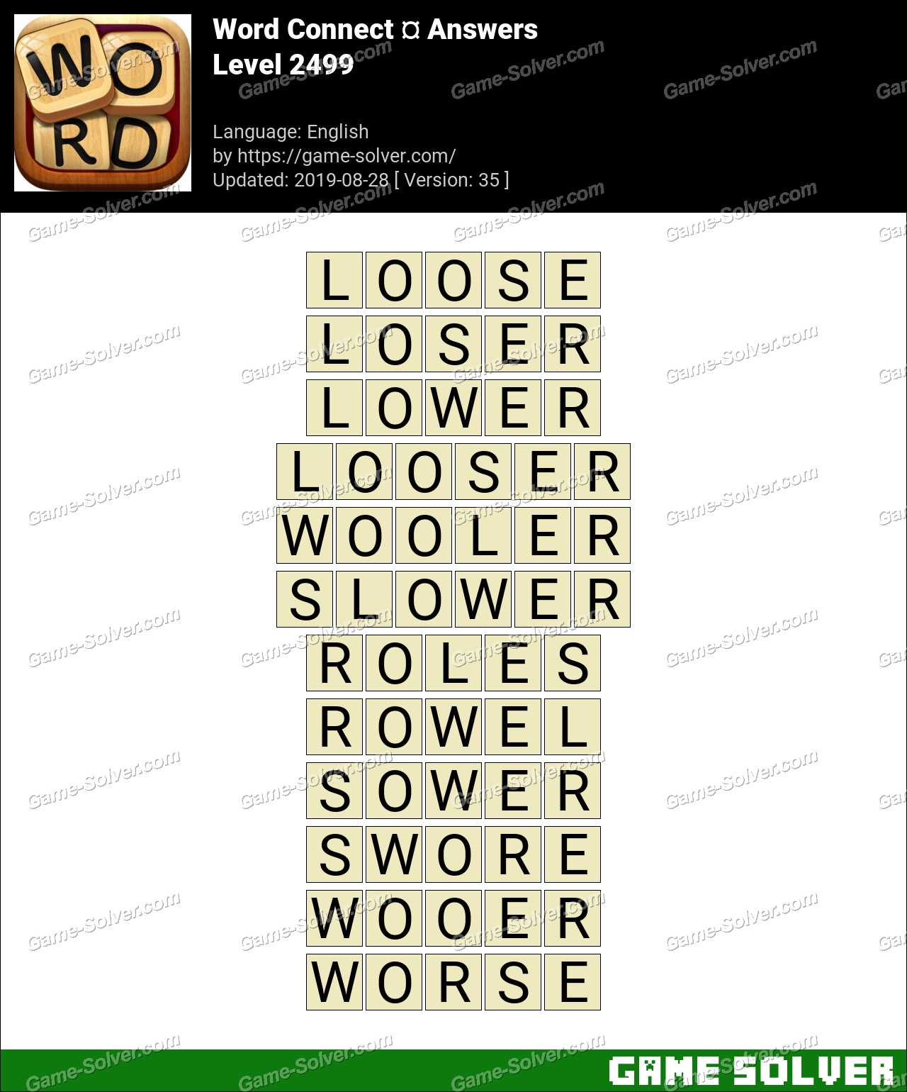 Word Connect Level 2499 Answers