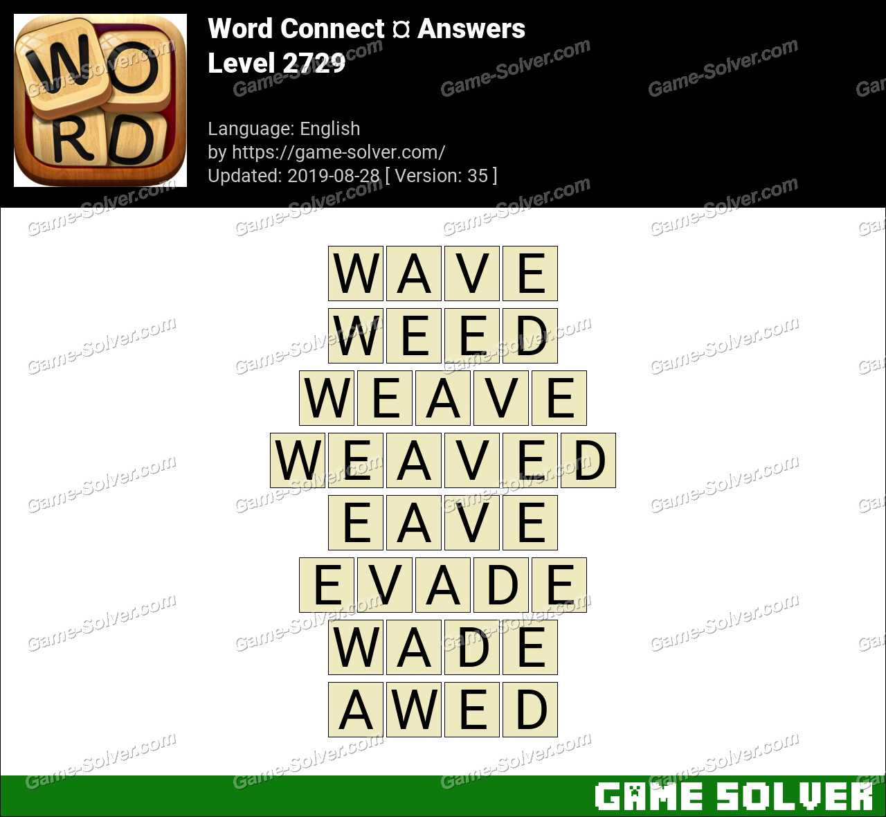 Word Connect Level 2729 Answers