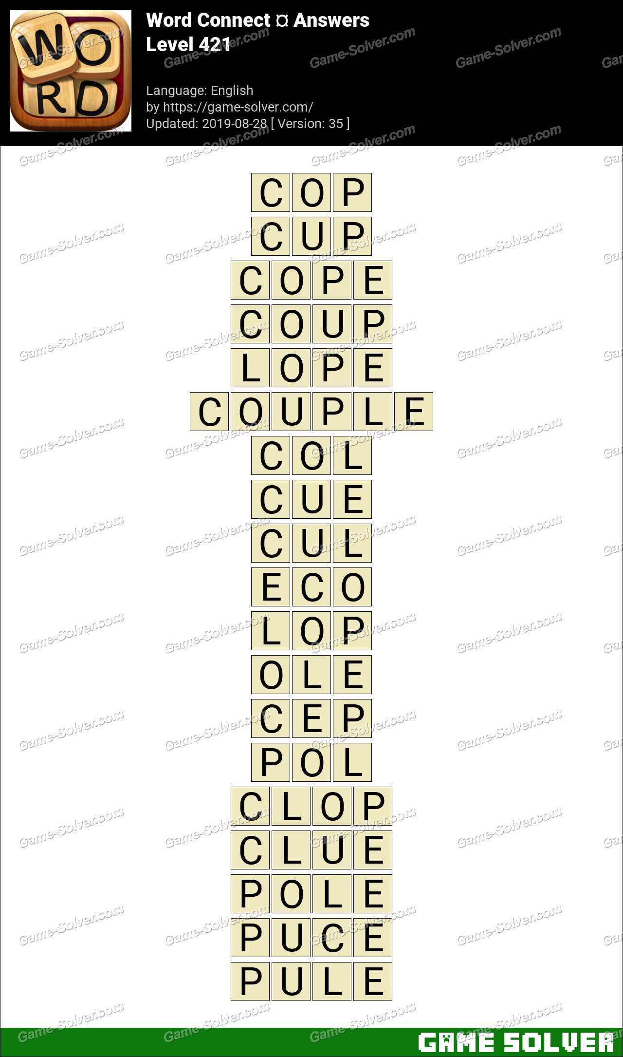 Word Connect Level 421 Answers