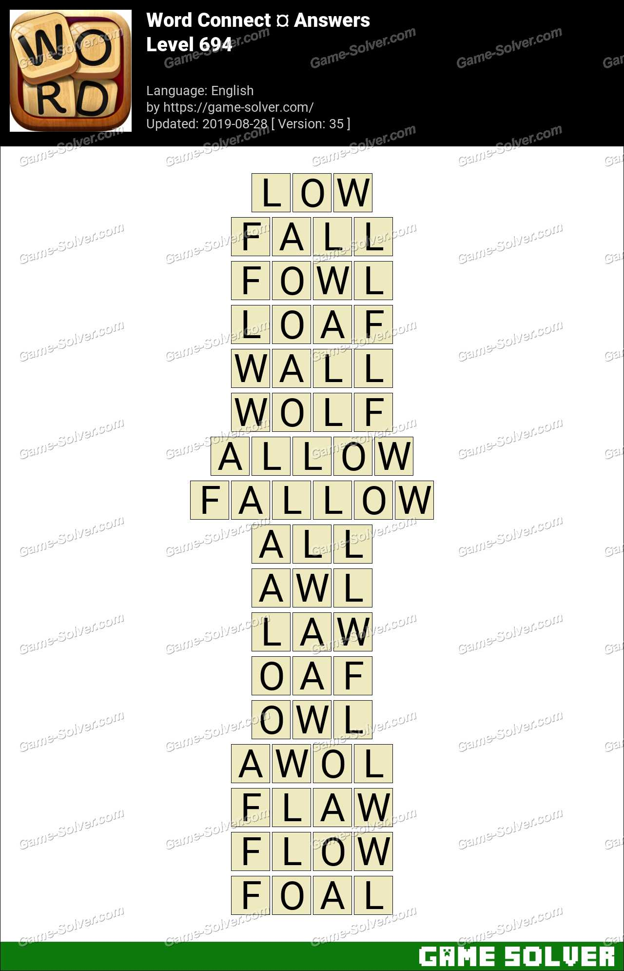 Word Connect Level 694 Answers