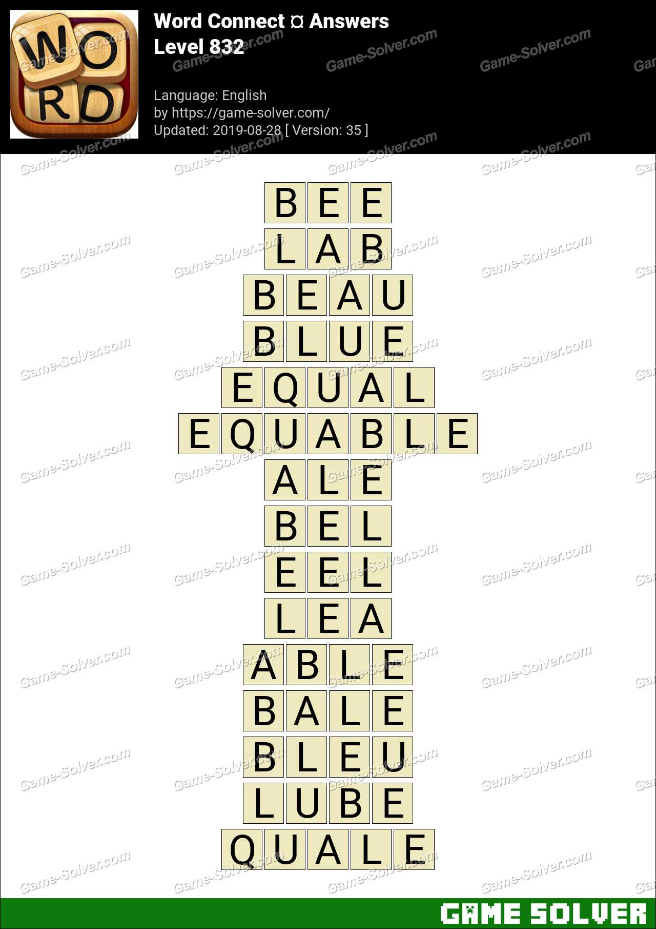 Word Connect Level 832 Answers