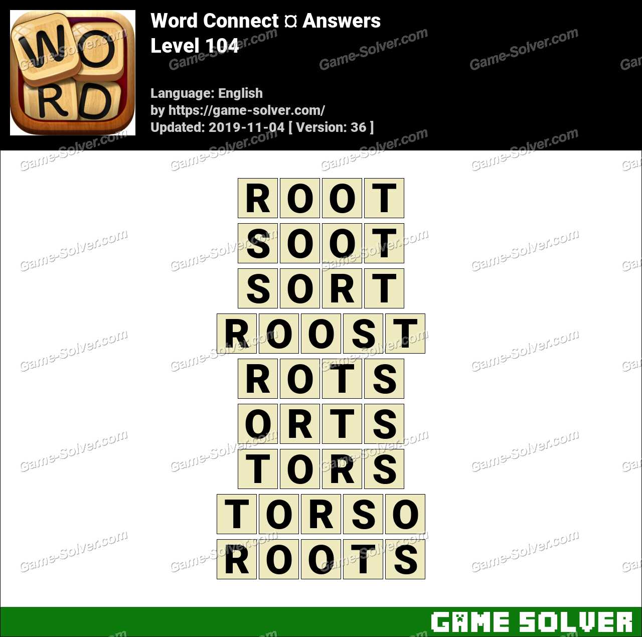 Word Connect Level 104 Answers