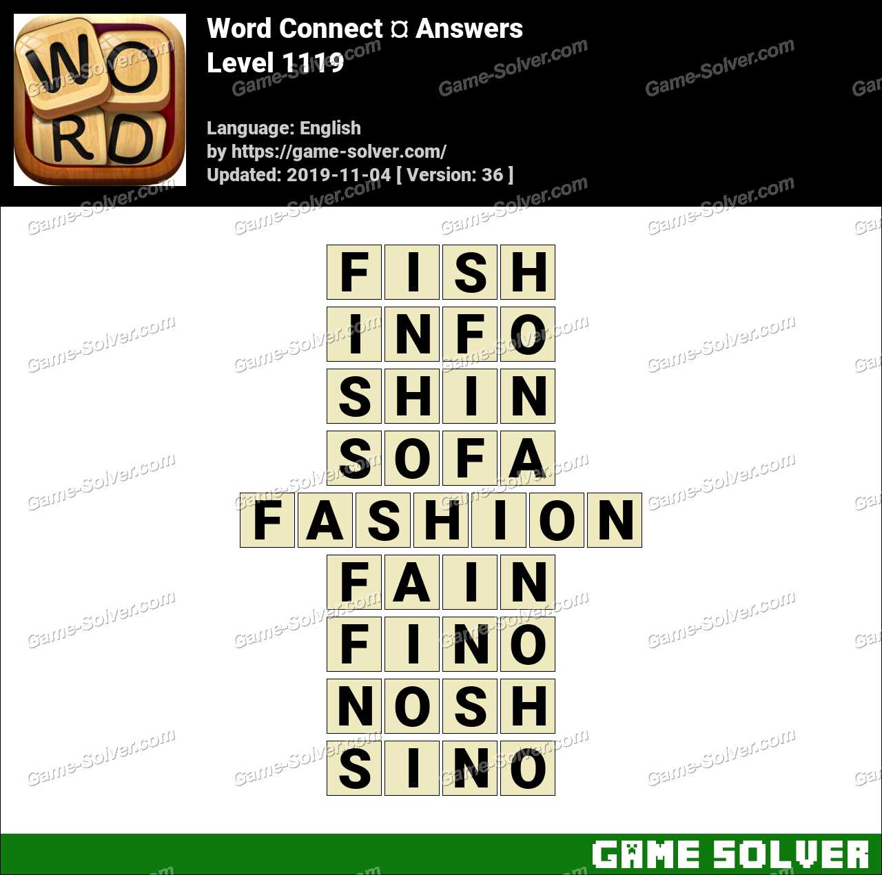 Word Connect Level 1119 Answers