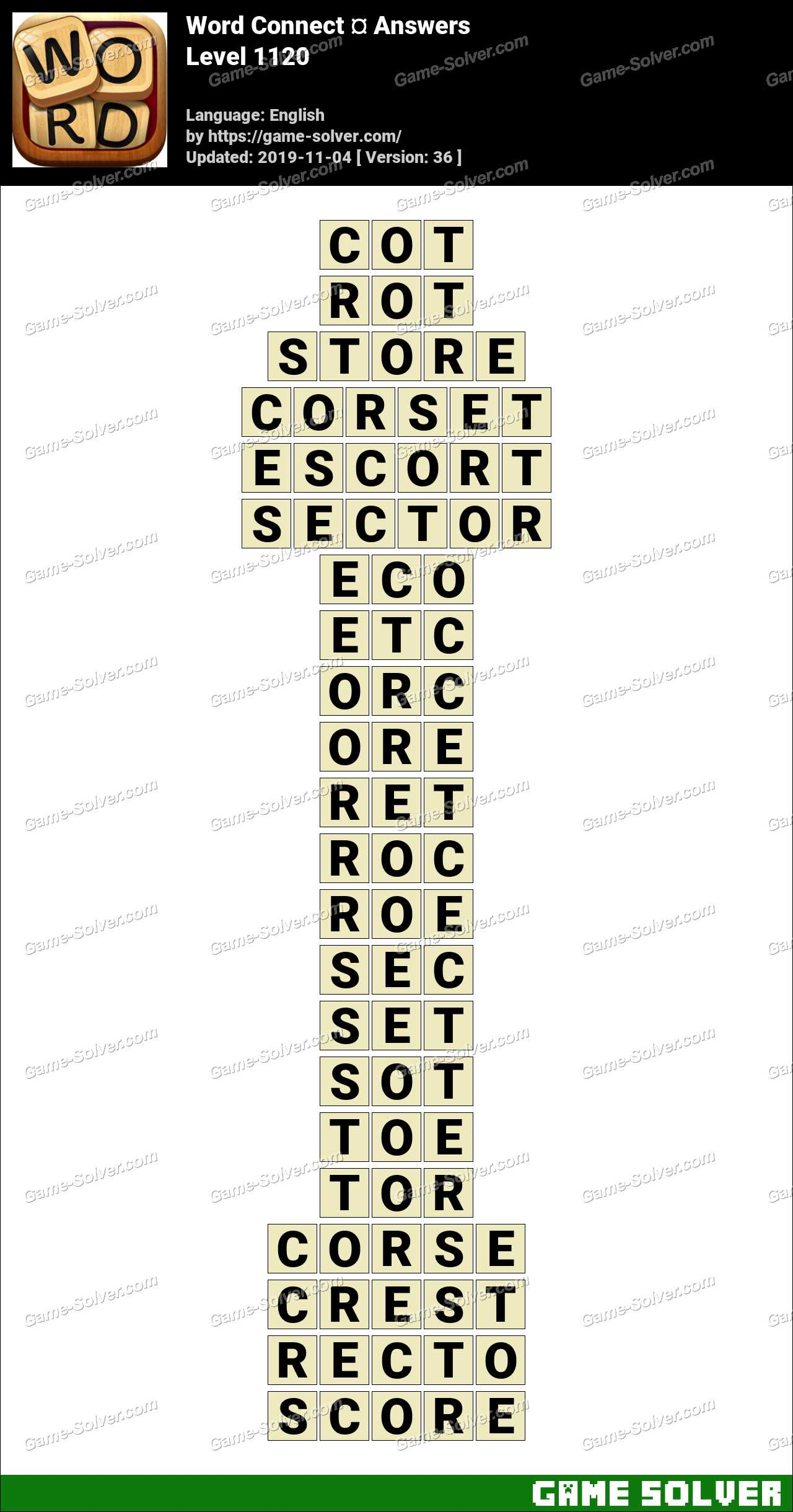 Word Connect Level 1120 Answers