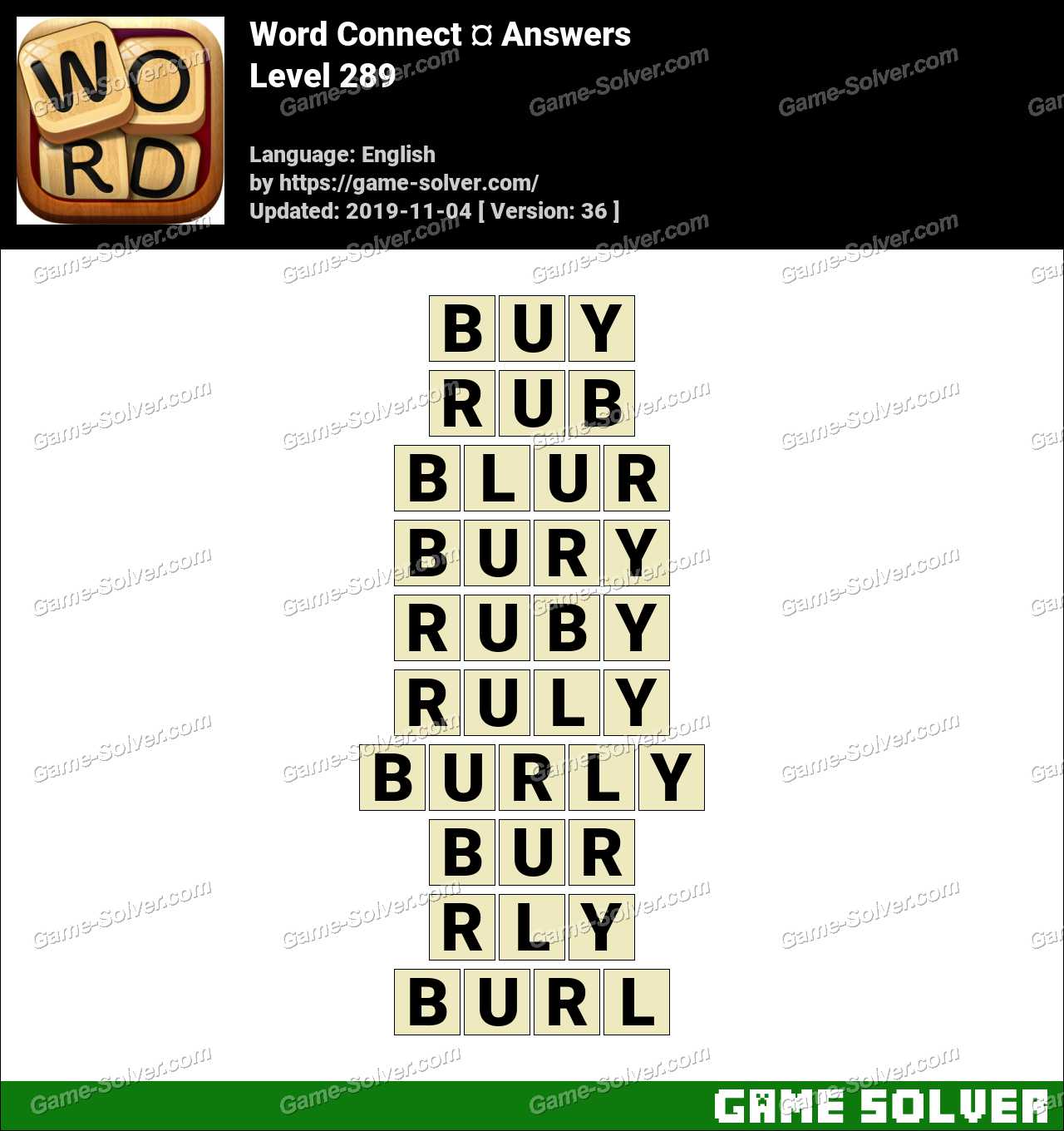 Word Connect Level 289 Answers