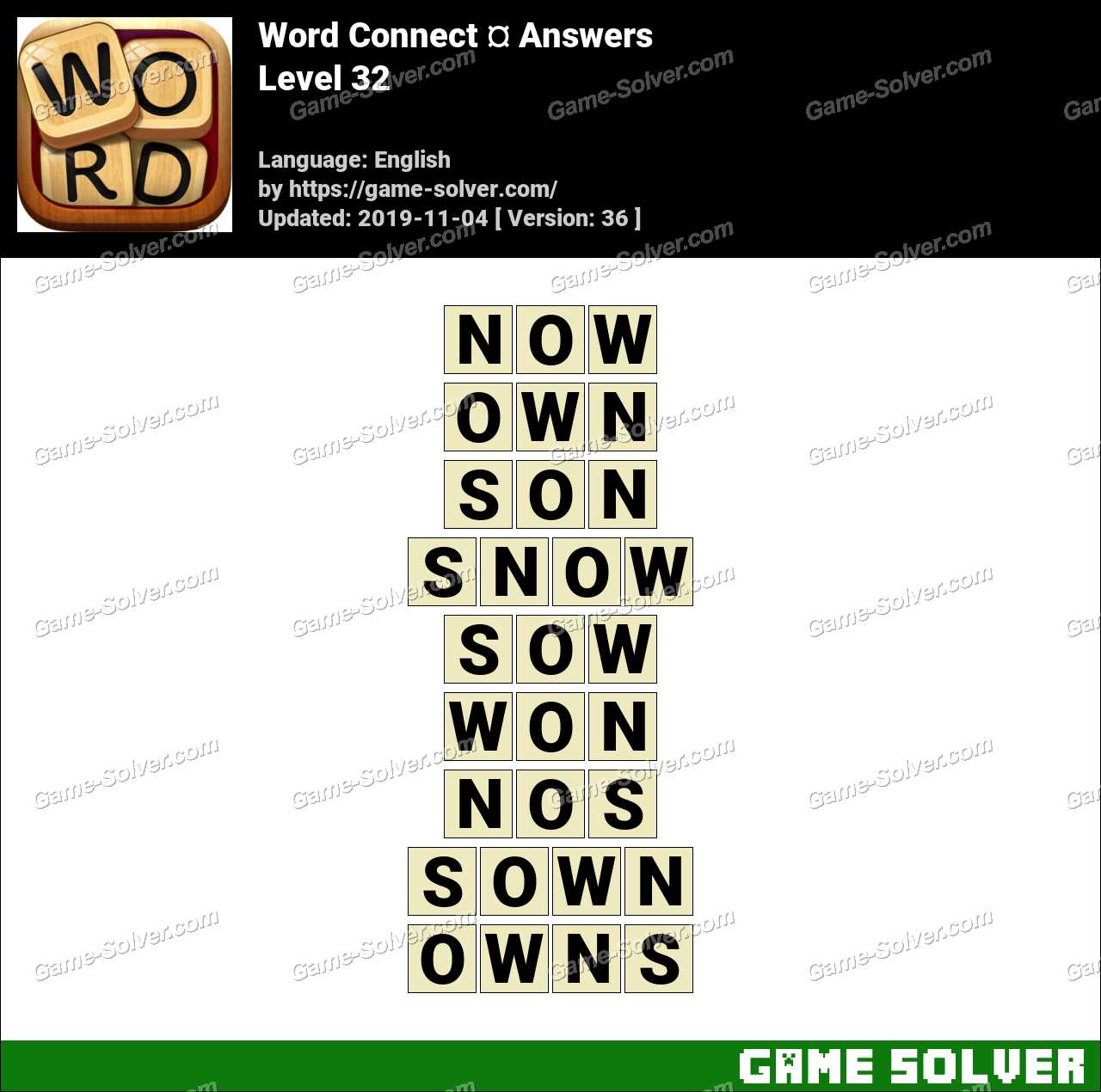 Word Connect Level 32 Answers