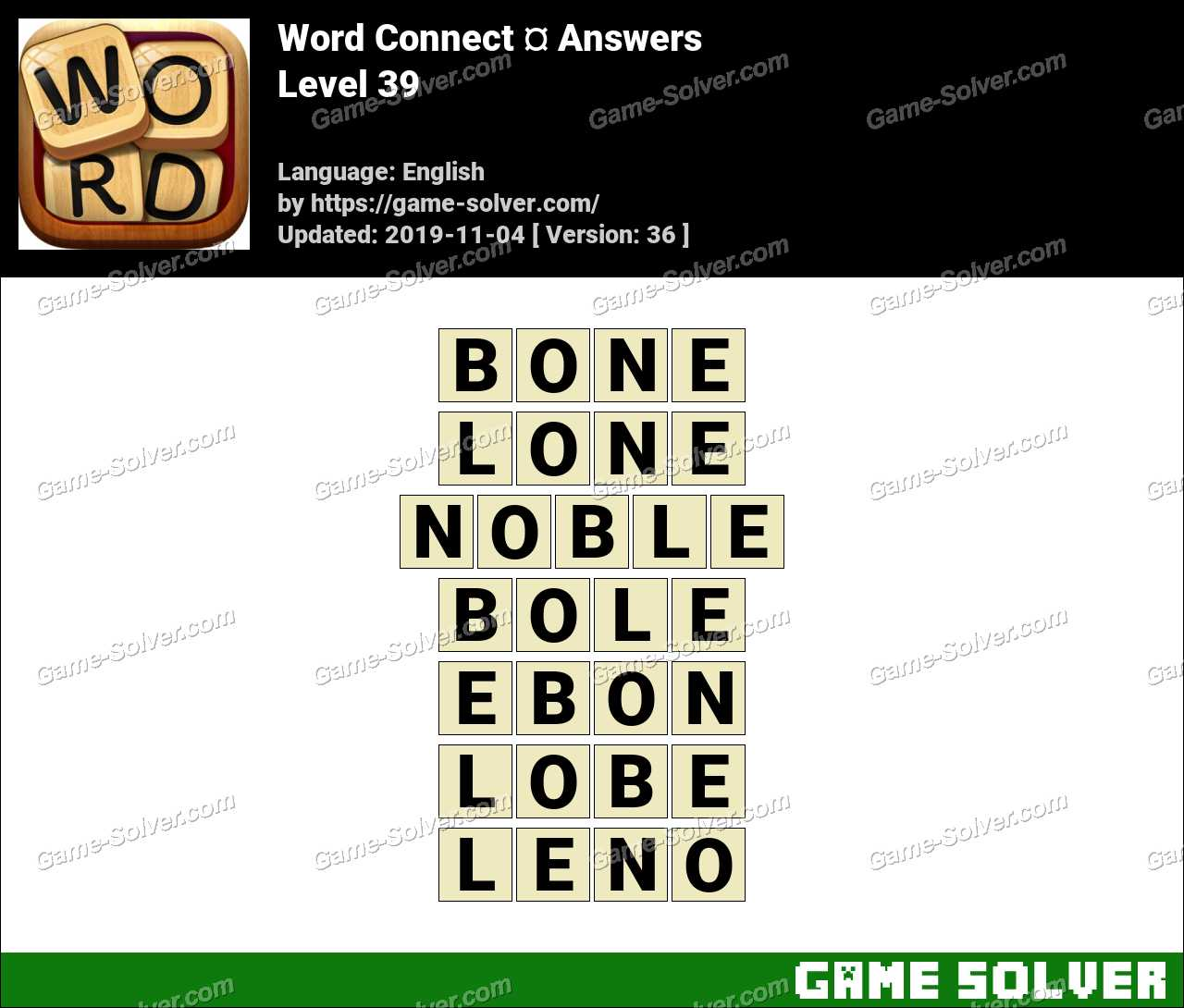 Word Connect Level 39 Answers