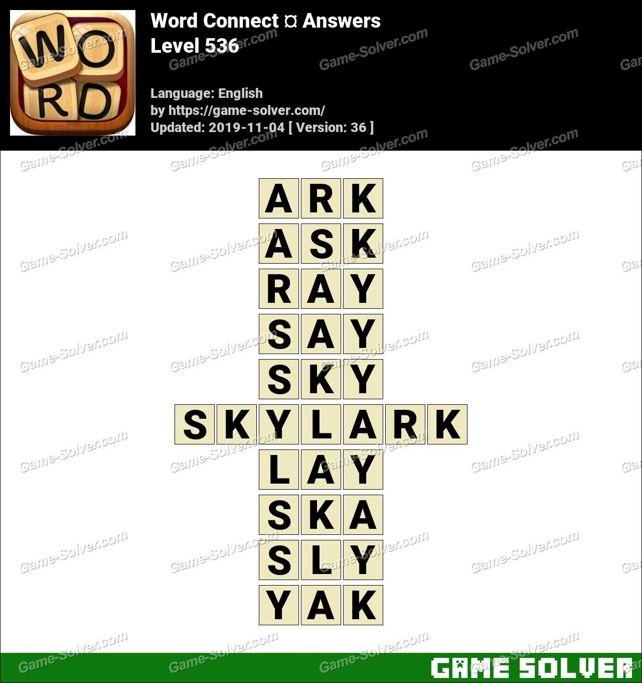 Word Connect Level 536 Answers