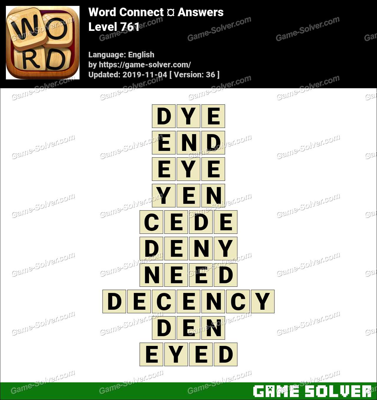 Word Connect Level 761 Answers