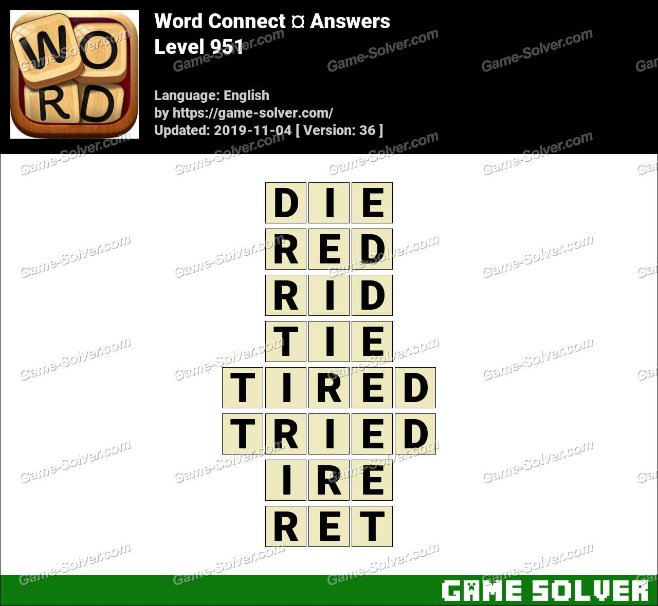 Word Connect Level 951 Answers