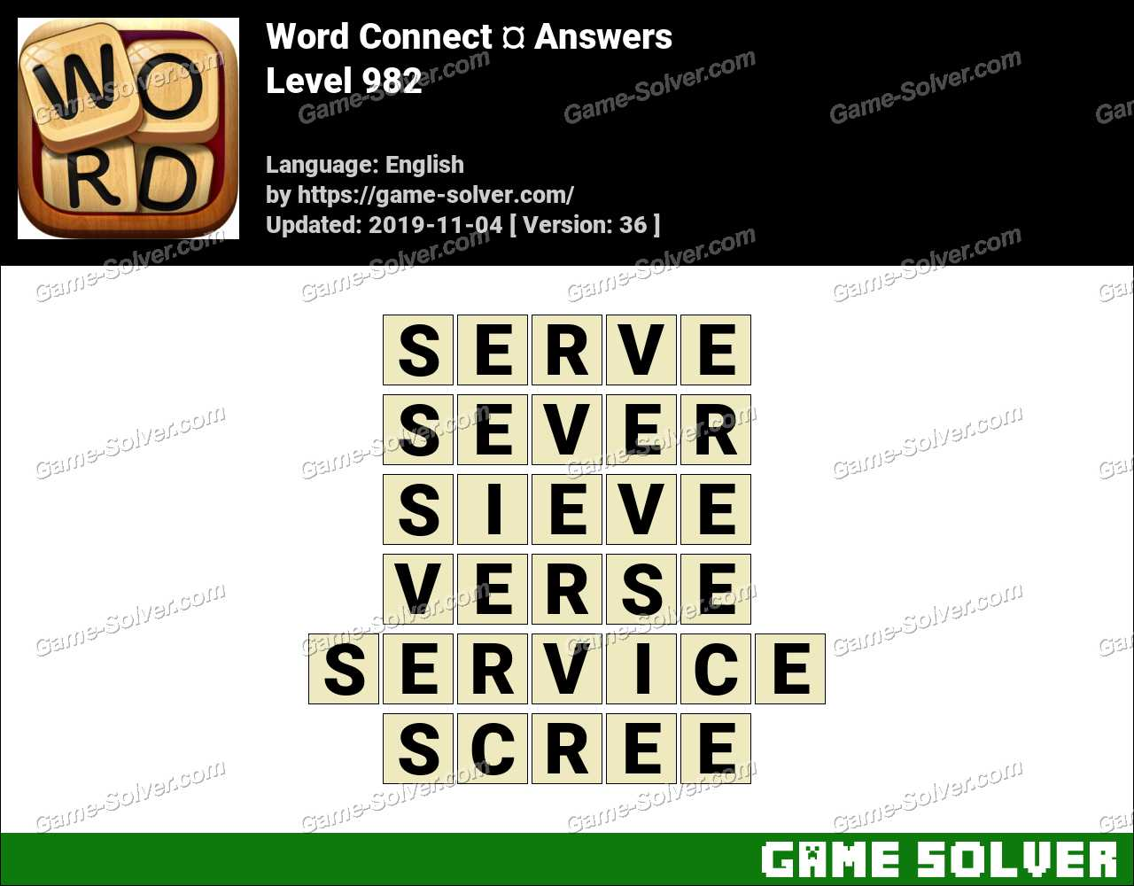 Word Connect Level 982 Answers