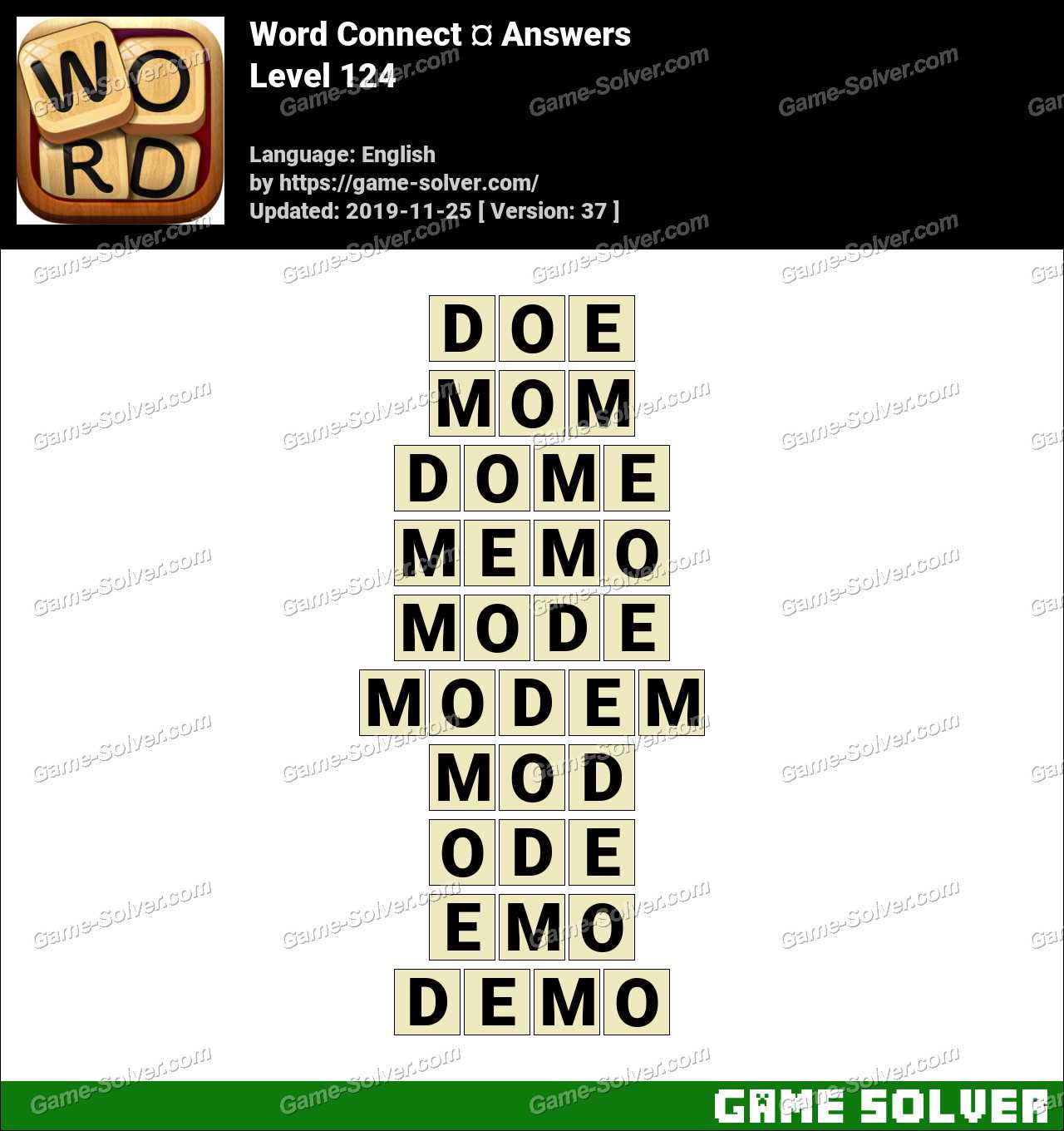Word Connect Level 124 Answers