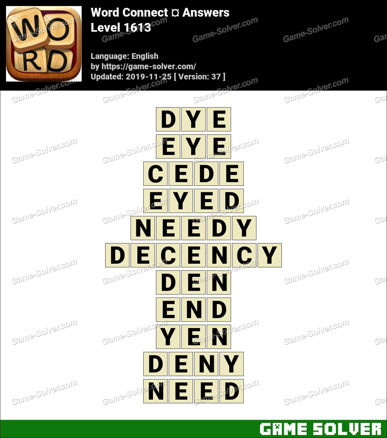Word Connect Level 1613 Answers