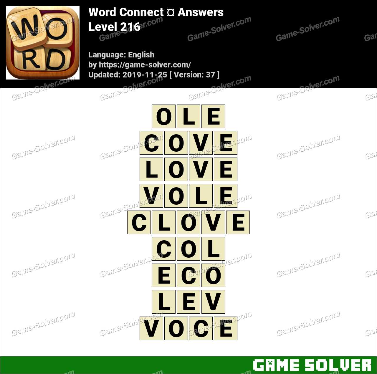 Word Connect Level 216 Answers